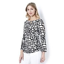 Mr Max 3/4 Sleeve Printed Top with Split Shoulder Detail