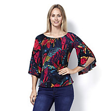 Coco Bianco Printed Off The Shoulder Top with 3/4 Bell Sleeves