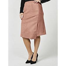 MarleWynne Faux Suede Asymmetric Skirt