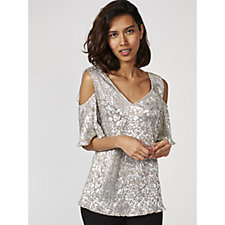Ronni Nicole Short Sleeve Metallic Cold Shoulder Top