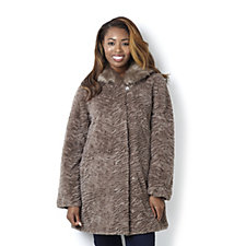 Dennis Basso Sculpted Swing Coat with Faux Fur Collar