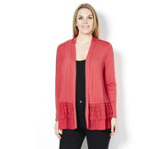 LOGO by Lori Goldstein Cardigan with Chiffon and Embroidered Hem