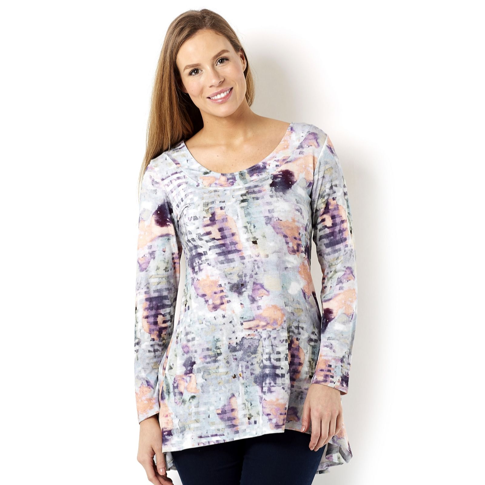 Marble Scoop Neck Printed Tunic with Fluted Back