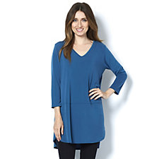Fashion by Together 3/4 Sleeve Solid Jersey Tunic