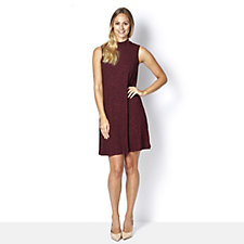 Ronni Nicole Ribbed Swing Dress with Polo Neck