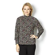 Kim & Co Brazil Knit Multicolour Ditsy Blouson Sleeve High Neck Top