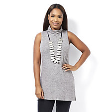 162493 - MarlaWynne Brushed Jasper Sleeveless Polo Neck Tunic