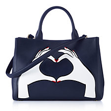 Lulu Guinness Medium Amelia Smooth Leather Heart Hands Grab Bag
