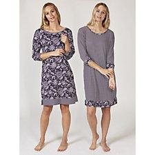 Carole Hochman Stripe Batik Print Night Gowns Set of 2