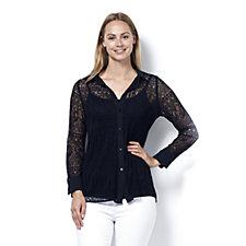L'Officina della Moda Lace Front Shirt with Cami