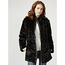Dennis Basso Faux Fur Jacket with Stand Collar & Faux Leather Trim
