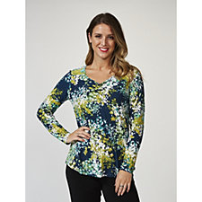 Kim & Co Drifting Ditsy Brushed Venechia Long Sleeve Top