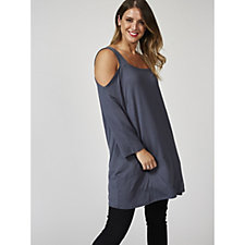 Grace 3/4 Sleeve Cold Shoulder Square Neck Tunic