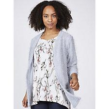 Kim & Co Eyelash Knit 3/4 Sleeve Cardigan