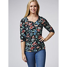 Artscapes Midnight Garden 3/4 Sleeve Y Neck Top