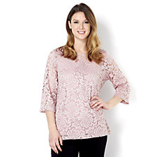 157294 - Kim & Co Embroidered Stretch Lace 3/4 Sleeve Top & Cami Set