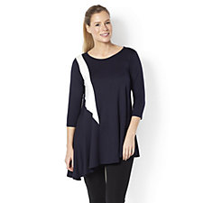 Yong Kim Modal 3/4 Sleeve Tunic Top with Contrast Panel