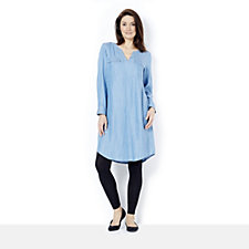 C. Wonder Rolled Tab Tunic Dress with Patch Pocket
