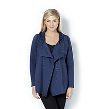 Quacker Factory Hooded Waterfall Cardigan with Stud Detail