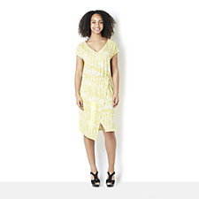 H by Halston Printed V-Neck Split Hem Dress
