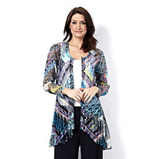 Long Sleeve Deco Fleur Lace Edge to Edge Cardigan by Michele Hope