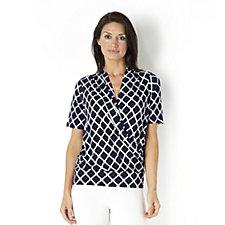 Kim & Co Byzantine Brazil Knit Jersey Short Sleeve Faux Wrap Top