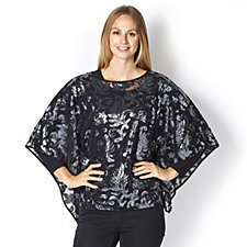 Bob Mackie Jersey Top Long Sleeve & All Over Sequin Poncho