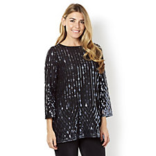 Bob Mackie All Over Embellished Bell Sleeve Top