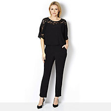 Ronni Nicole Jumpsuit Pop Over Lace Top