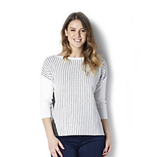 MarlaWynne Dash Dot Knit Contrast Drop Shoulder Sweater