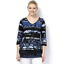 Artscapes Blue Texture Print 3/4 Sleeve V Neck Top