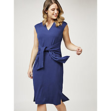 Isaac Mizrahi Live Sleeveless V Neck Dress with Tie Belt