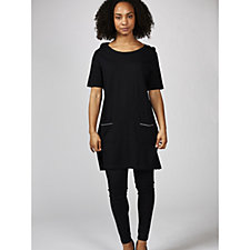 Knit Top with Embellished Trim Pockets by Michele Hope