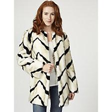 Dennis Basso Platinum Collection Chevron Faux Fur Coat