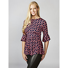 Tammy 3/4 Sleeve Triangle Print Peplum Top by Onjenu London