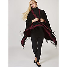 Attitudes by Renee Contrast Border Wrap with Fringe Detail