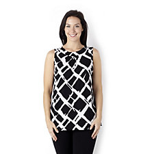 Pleat Detail Printed Vest by Susan Graver