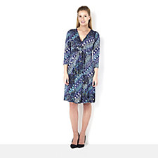 Printed Faux Wrap Dress by Nina Leonard