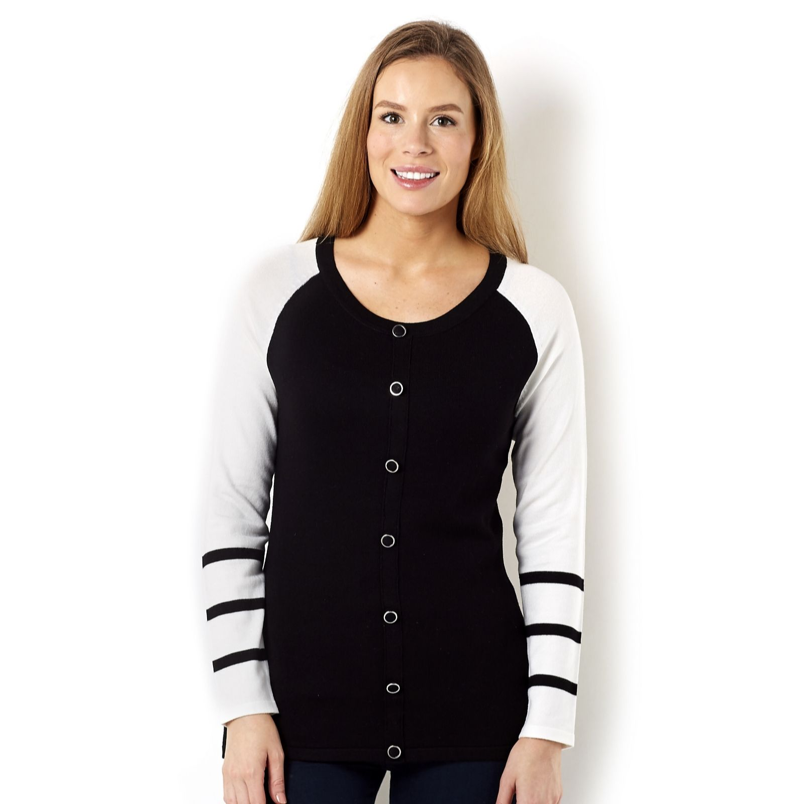 Marble Mock Cardigan with Stripe Sleeve