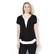 Top with Contrast Insert and Hem by Nina Leonard