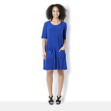 Ronni Nicole 'O So Slim' Short Sleeve Jersey Soop Neck Dress