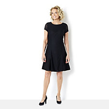 Isaac Mizrahi Live Short Sleeve Lace Dress with Godets