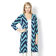 Chelsea Muse by Christopher Fink Hi-Lo Hem Printed Duster