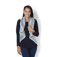 Jeanne Beker Shawl Collar Eyelash Knit Sleeveless Cardigan