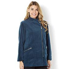 Bob Mackie Fleece Jacket Asymmetric Zip Patch Pockets