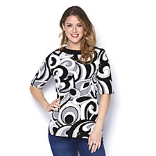 Denim & Co. Printed Boat Neck Elbow Sleeve Top with Solid Trim