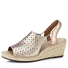 Clarks Artisan Petrina Gail Leather Espadrille Wedge Sandal Wide Fit