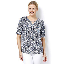 Artscapes Oriental Blue Print Floral Short Sleeve Top with Keyhole Detail