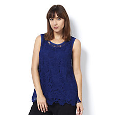 Isaac Mizrahi Live Sleeveless Lace Top with Scalloped Hem