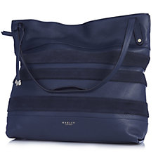 Radley London Willow Stripe Suede Large Leather Zip Top Hobo Bag